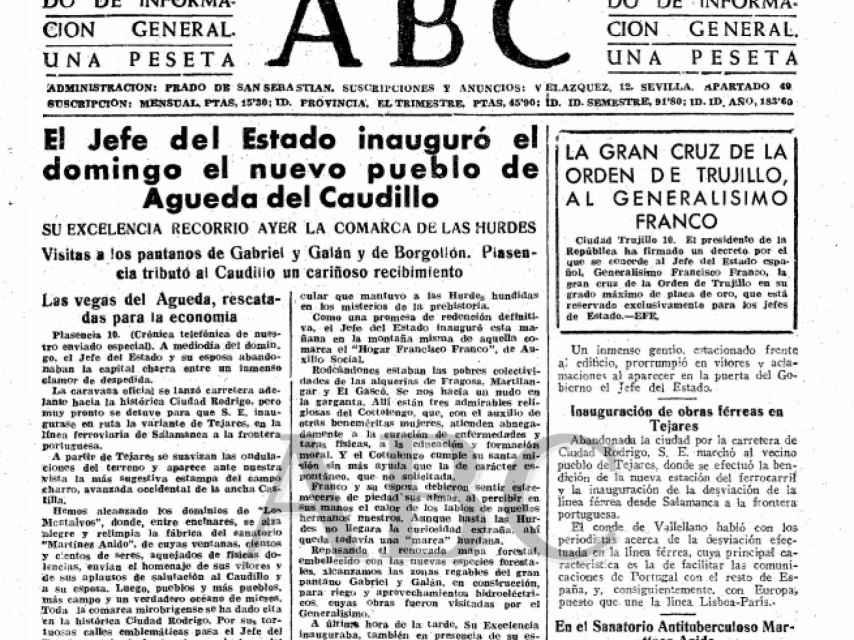El día que se fundó el pueblo, el diario ABC destacaba en su crónica, un tanto sentimentalista, que Franco y su esposa debieron sentir estremecerse de piedad sus almas, al percibir en sus manos el calor de los labios de aquellos hermanos nuestros.