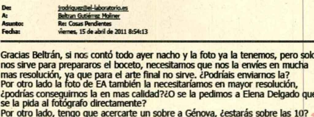 Correo electrónico entre Laboratorio y Beltrán Gutiérrez.