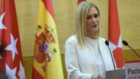 La presidenta de la Comunidad de Madrid, Cristina Cifuentes, durante una comparecencia.