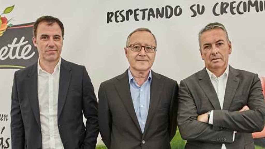 El director Comercial y de Marketing, Fermín Aldaz; el director general de Florette Ibérica, Juan Miguel Floristán; y el director general de Florette Agrícola, Jorge Moreno.