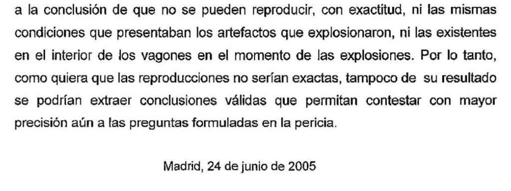 Fragmento de la página 78 del informe elaborado por los cuatro peritos de Policía y Guardia Civil.