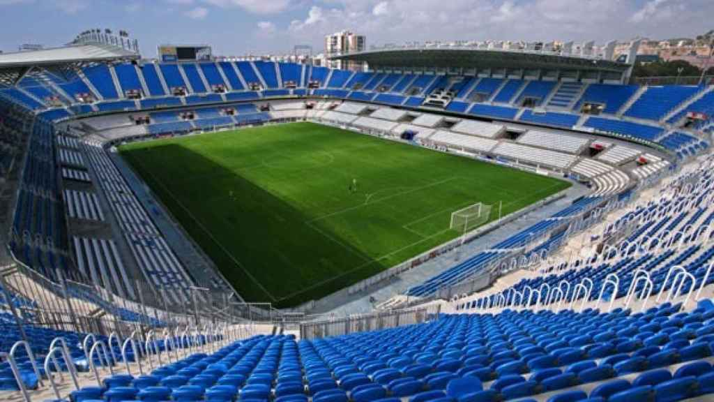 Estadio de La Rosaleda, donde hoy domingo se disputará el partido contra el Real Madrid.