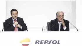 El consejero delegado de Repsol, Josu Jon Imaz, y el presidente Antonio Brufau.