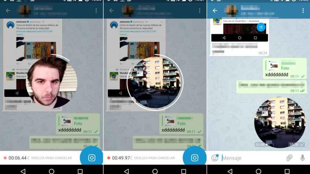 Nota de vídeo en Telegram