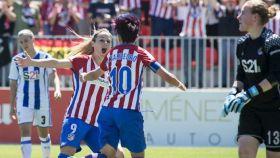 Las jugadoras del Atlético de Madrid celebran un gol en la victoria contra la Real Sociedad.