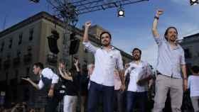 Pablo Iglesias al término del acto en la Puerta del Sol de Madrid.
