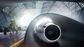 Ilustración de una futura estación de Hyperloop.