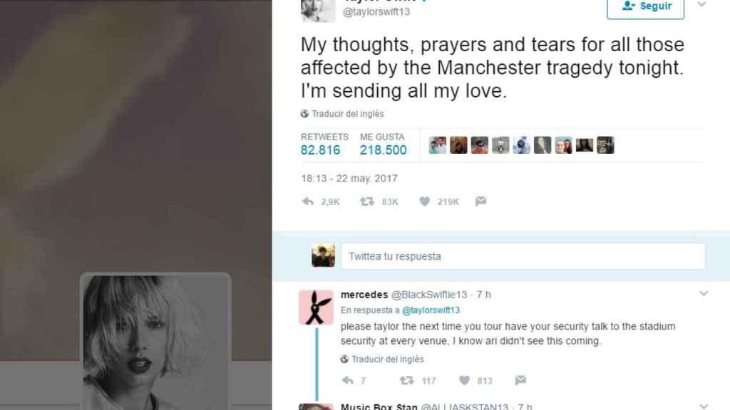 mensaje de Taylor Swift en Twitter.