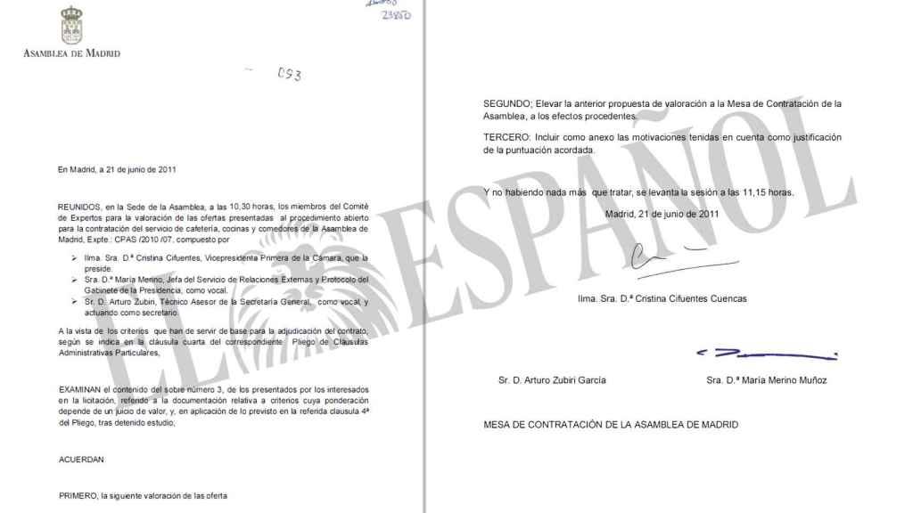 Acta donde aparece Cristina Cifuentes como presidenta del Comité de Expertos.