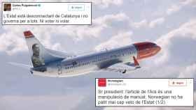 El intercambio de tuits entre el presidente de la Generalitat y Norwegian Airlines.
