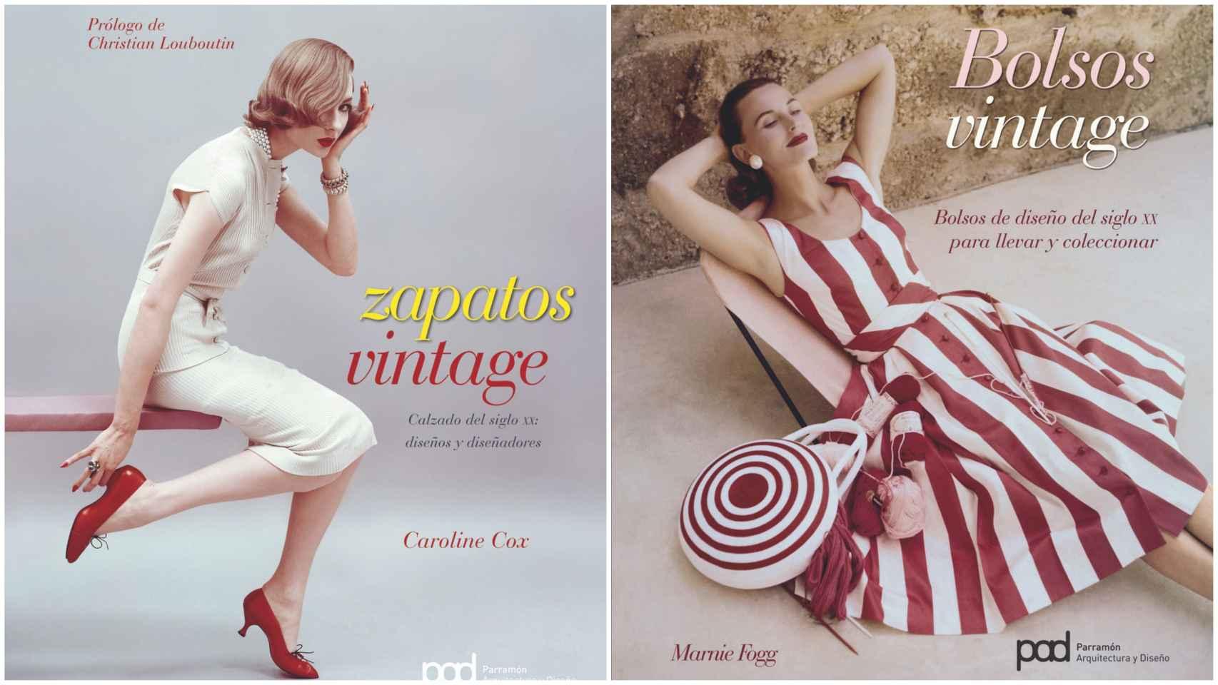 """""""Bolsos vintage"""" (Marnie Fogg, 2009) y """"Zapatos vintage"""" (Caroline Cox, 2009): ambos libros pertenecen a una colección que ahonda en prendas de antaño."""
