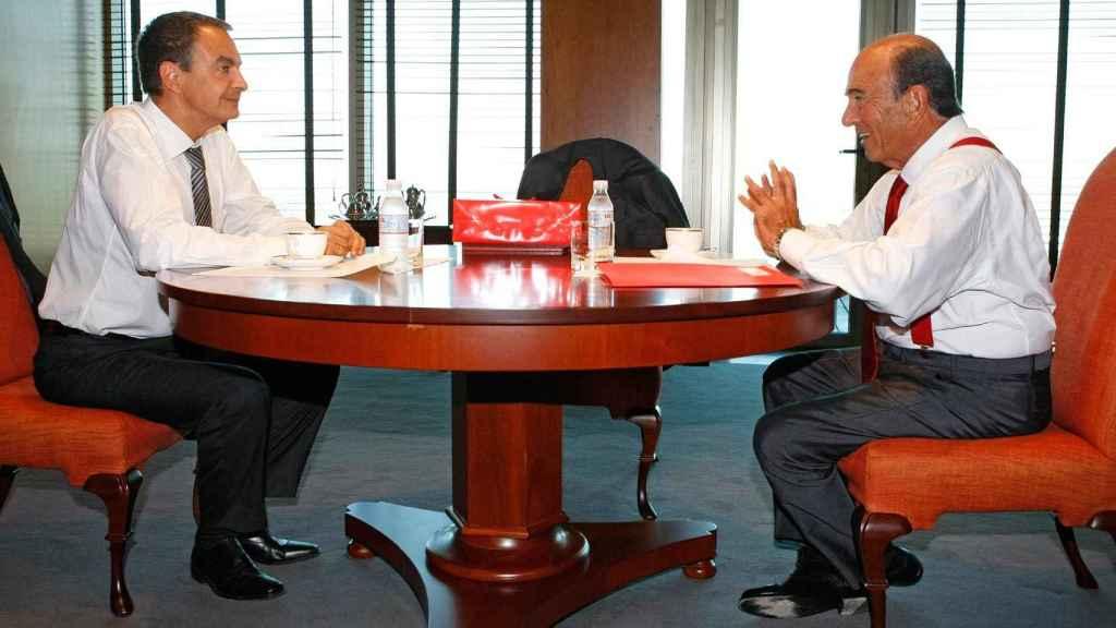 El ex presidente del Gobierno José Luis Rodríguez Zapatero y el banquero Emilio Botín.