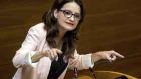 Mónica Oltra, portavoz de Compromís, en una intervención en las cortes valencianas