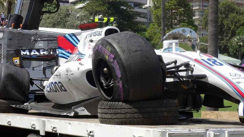El Williams de Lance Stroll tras el accidente en Mónaco.
