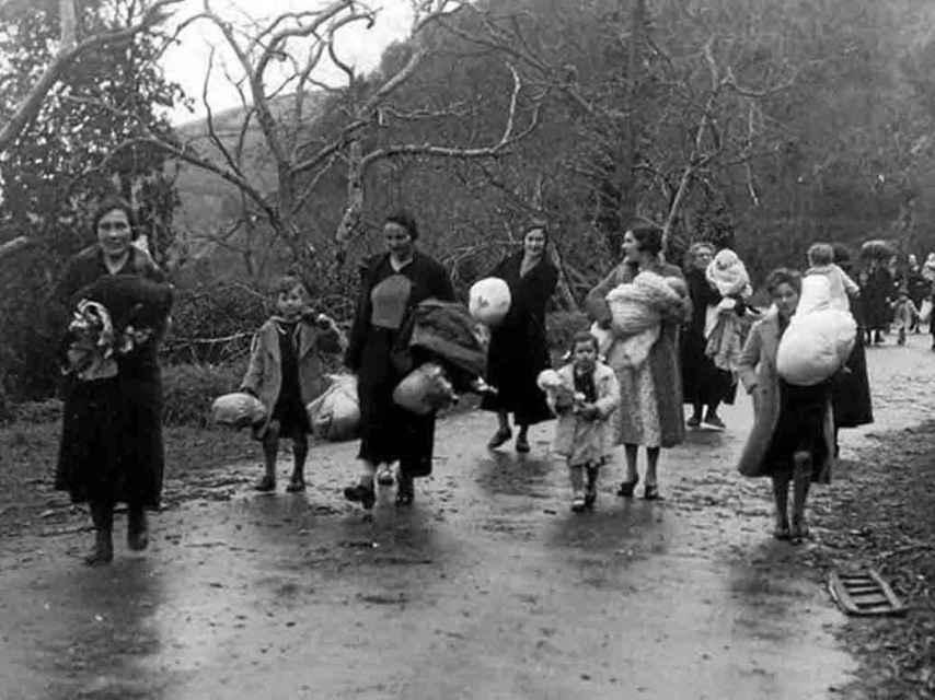 Refugiados españoles, en 1937.