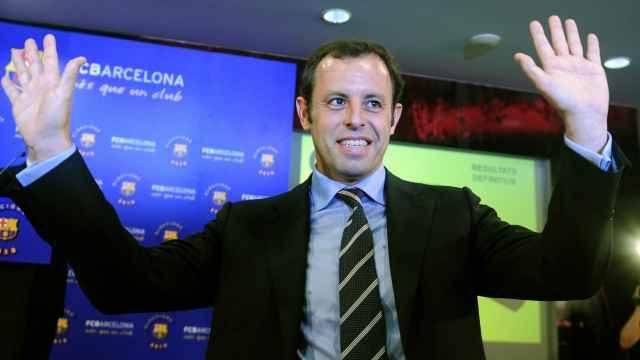Sandro Rosell tras ganar las elecciones a la Presidencia del Barcelona F.C.