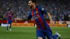 Messi celebra su gol en el Vicente Calderón.