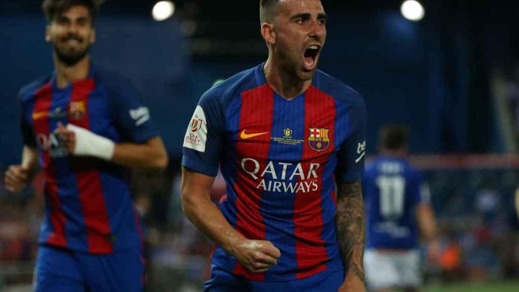 Alcácer celebra su gol en la final de Copa de mayo, el último que ha marcado.