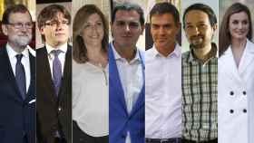 Rajoy, Puigdemont, Díaz, Rivera, Sánchez, Iglesias y la reina Letizia.
