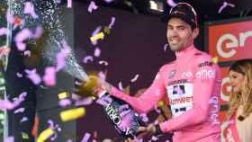 Tom Dumoulin celebra durante este Giro de Italia.