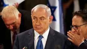 Netanyahu durante la reunión de su Ejecutivo