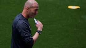 Zidane, en uno de los entrenamientos del Real Madrid esta semana.
