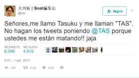 Captura del mensaje de socorro publicado por TAS en Twitter