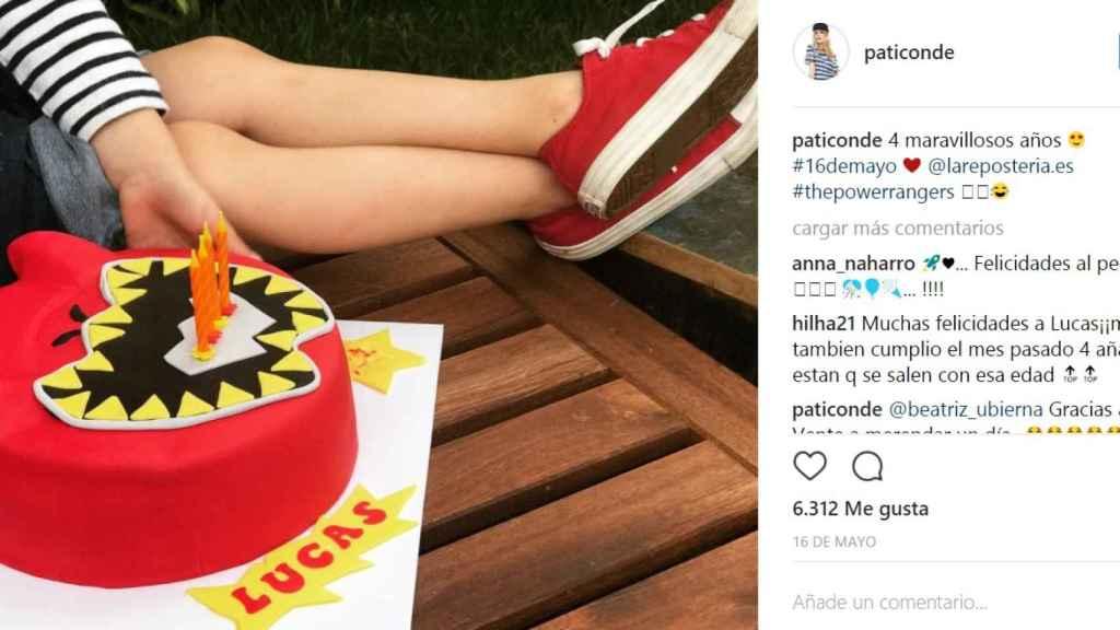 Instagram con el que Patricia Conde anunciaba el cumpleaños de su hijo.