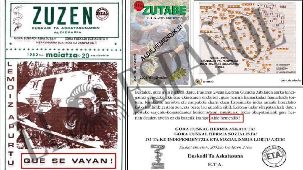 Documentos internos de ETA en los que se defiende la expulsión de la Guardia Civil