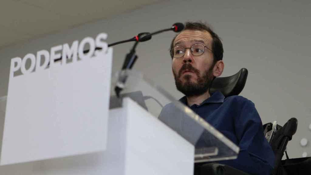 Pablo Echenique durante la rueda de prensa que ha ofrecido el lunes.