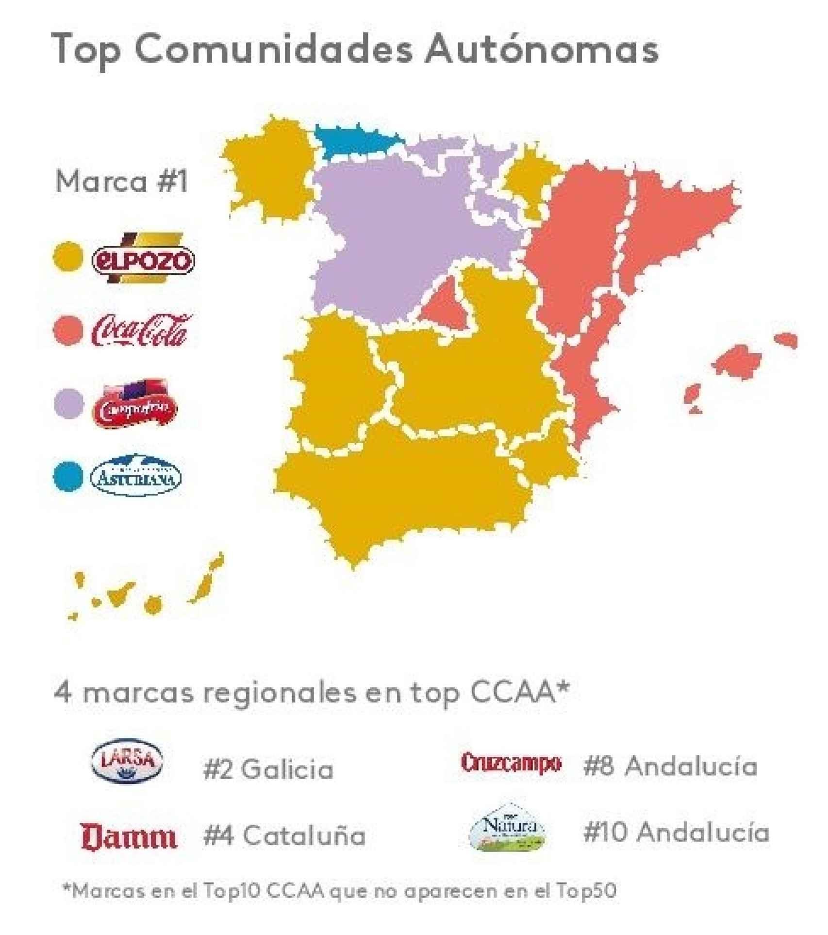 Mapa de las marcas por Comunidades Autónomas.