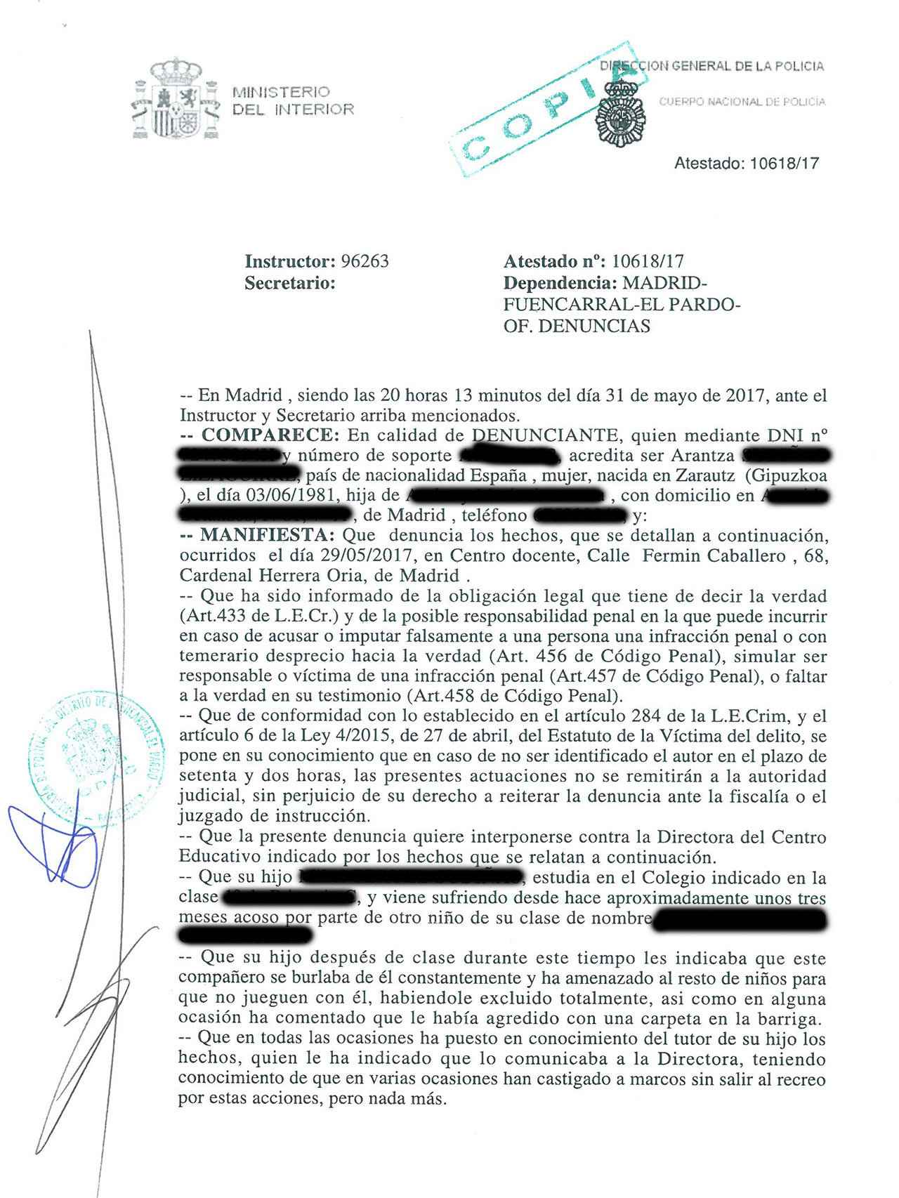 Copia de la denuncia de la madre de Nacho tras la presunta agresión