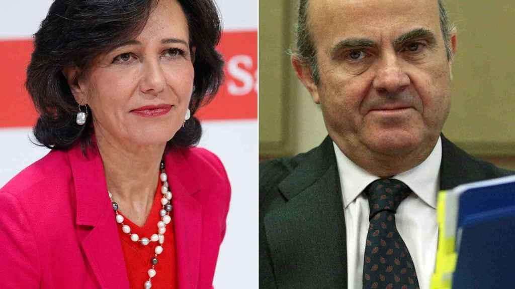La presidenta del Banco Santander, Ana Botín, y el ministro de Economía, Luis de Guindos.