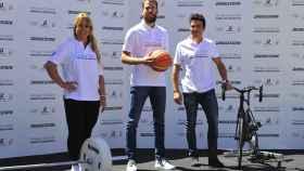 Lydia Valentín, Sergio Rodríguez y Javier Gómez Noya en el acto de Bridgestone en el COE.