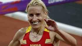 Marta Domínguez celebra una victoria.