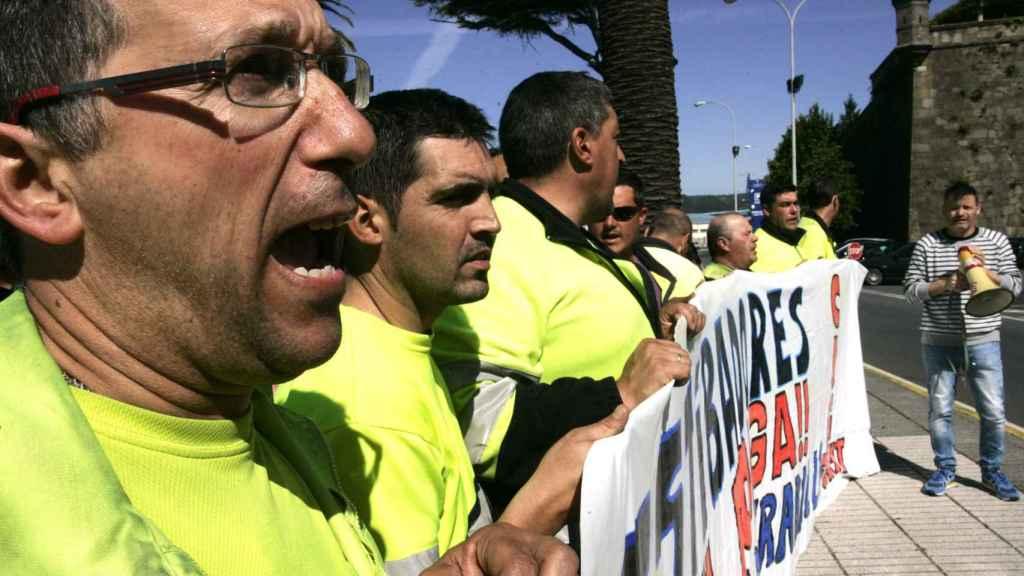 Jornada de huelga de los estibadores en Ferrol, imagen de archivo