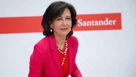 La presidenta de Santander, Ana Botín, durante la comparecencia de hoy.