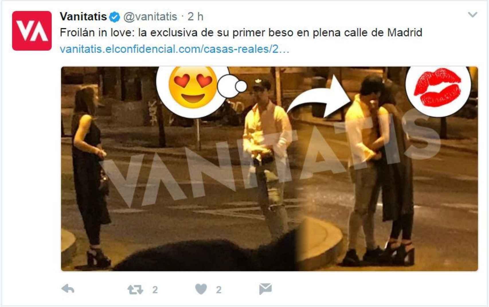 Captura del tuit de Vanitatis