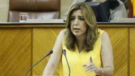Díaz, durante su comparecencia en el pleno del Parlamento autonómico.
