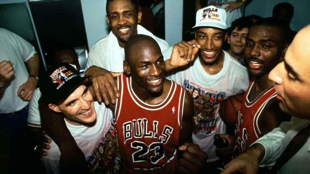 Los Bulls celebrando el título de 1991.
