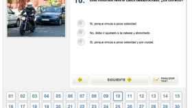 Captura de pantalla de una prueba del carnet de conducir.