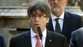 El presidente de la Generalitat, Carles Puigdemont, anunciando el referéndum.