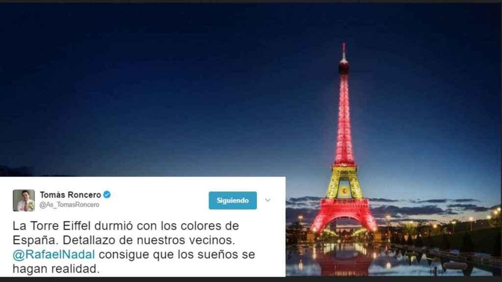 El periodista Tomás Roncero aseguró en Twitter que los franceses habían tenido un detalle tras la victoria de Nadal.