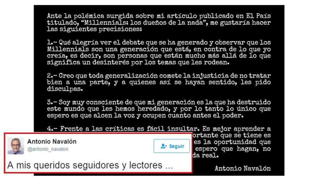 Las disculpas de Antonio Navalón.