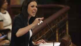Irene Montero, durante su intervención en la primera jornada del debate de la moción de censura.