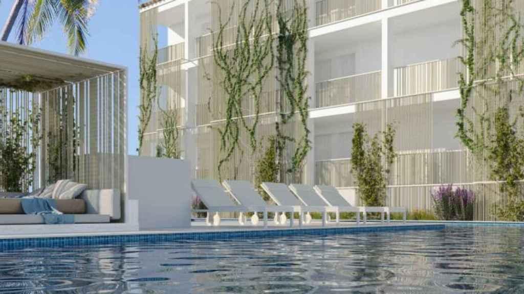 Fachada del Hotel Playasol Cala Tarida.