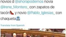 El tuit sexista que escribía Ana Vázquez durante la intervención de Irene Montero.