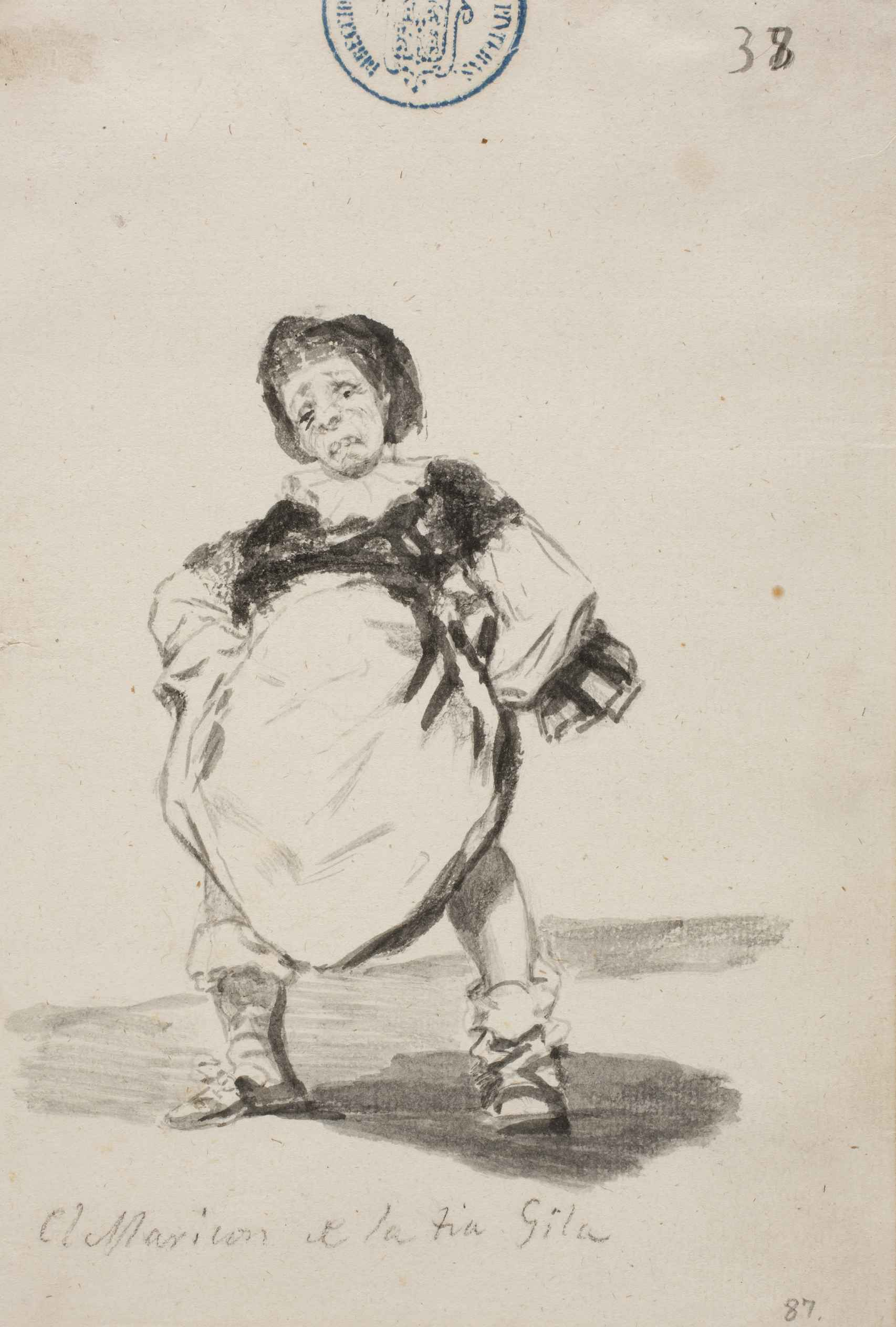 El Maricón de la tía Gila. Álbum C, 38, de Francisco de Goya.