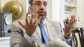 El economista Daron Acemoglu, en la sede de la Fundación BBVA en Madrid.