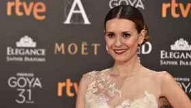 Elena Ballesteros con un vestido de estilo nupcial en los Goya de este año.